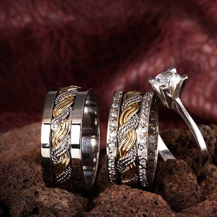 Üç Sıra Örgü Gümüş Alyans Modeli Çift Alyans