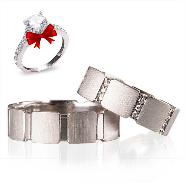 Şerit Taşlı  Gümüş Alyans Çifti + TEK TAŞ YÜZÜK HEDİYE