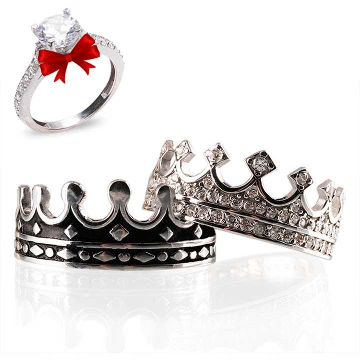 Kral Kraliçe Modeli Gümüş Alyans Çifti