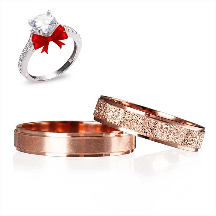 Roze Lazerli Gümüş Alyans Çifti Nişan ve Söz Yüzüğü