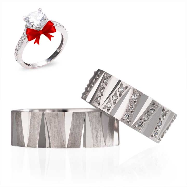 Çivi Modeli Gümüş Alyans Çifti