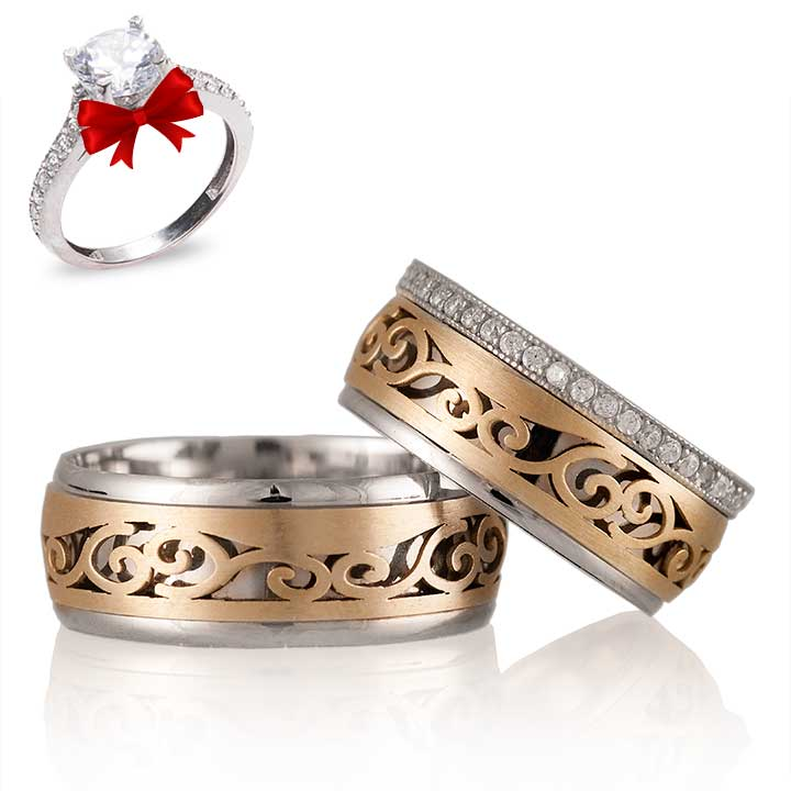 Mevsim Gümüş Alyans Modeli Altın Kaplama Alyans Çifti