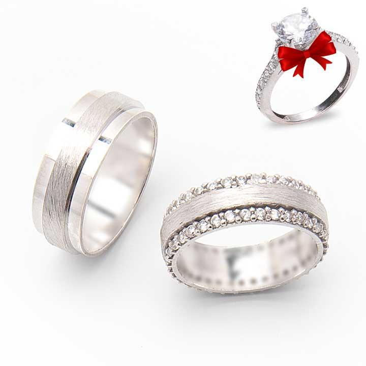 Taşlı Gümüş Alyans Modeli İnce Alyans Çifti