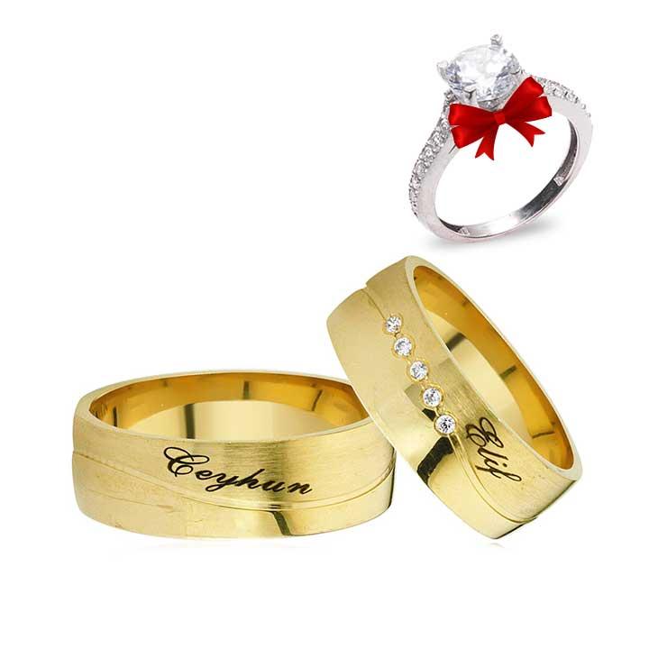 İsimli Altın Kaplama Gümüş Alyans Çifti + TEK TAŞ YÜZÜK HEDİYE