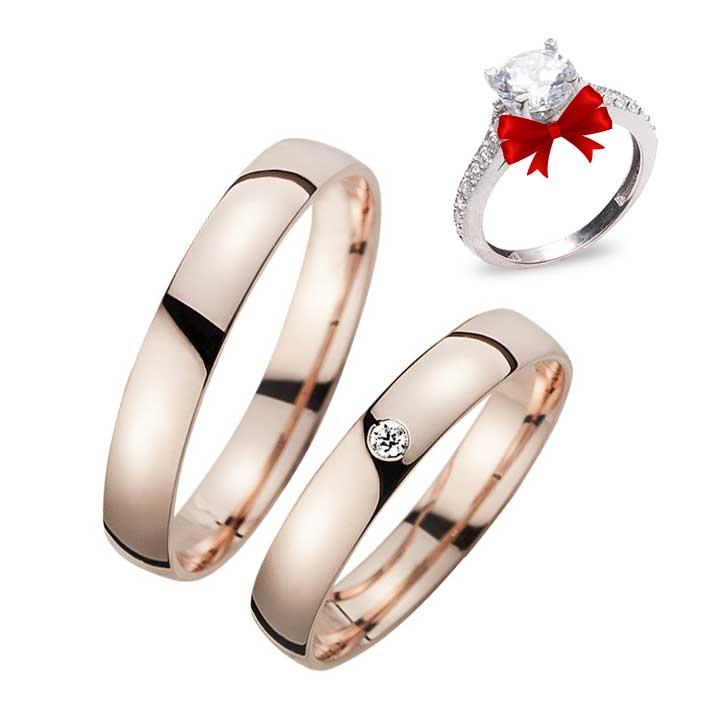 Roz Tek Taş Gümüş Alyans Çifti Söz Yüzüğü