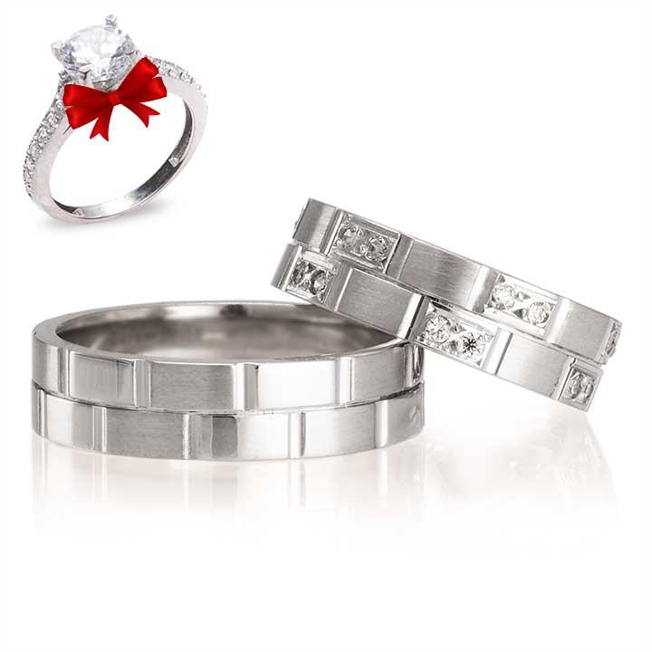 Zarif Beyaz Modeli Gümüş Alyans Çifti Söz Yüzüğü