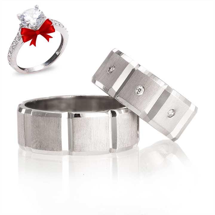 Kumsal Modeli Gümüş Alyans Çifti + TEK TAŞ YÜZÜK HEDİYE