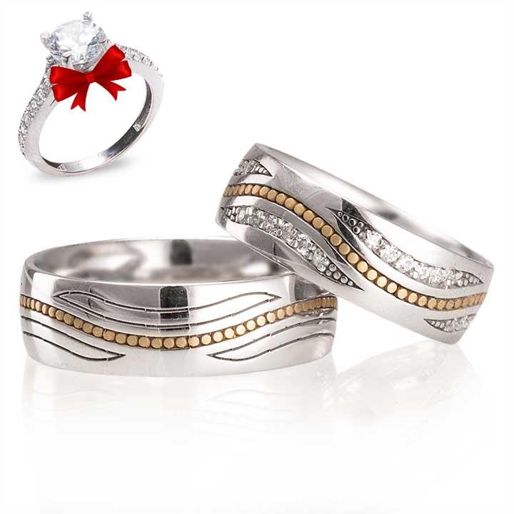 Elfida Modeli Gümüş Alyans Çifti + TEK TAŞ YÜZÜK HEDİYE