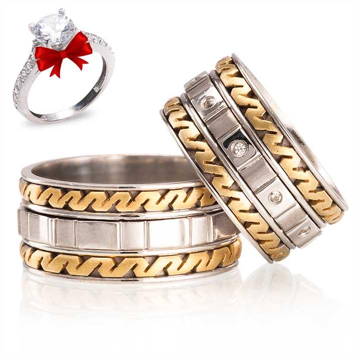 Kronos Modeli Gümüş Alyans Çifti + TEK TAŞ YÜZÜK HEDİYE
