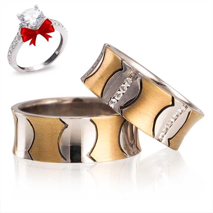 Ateş Gümüş Alyans Modeli Altın Kaplama Çift Alyans
