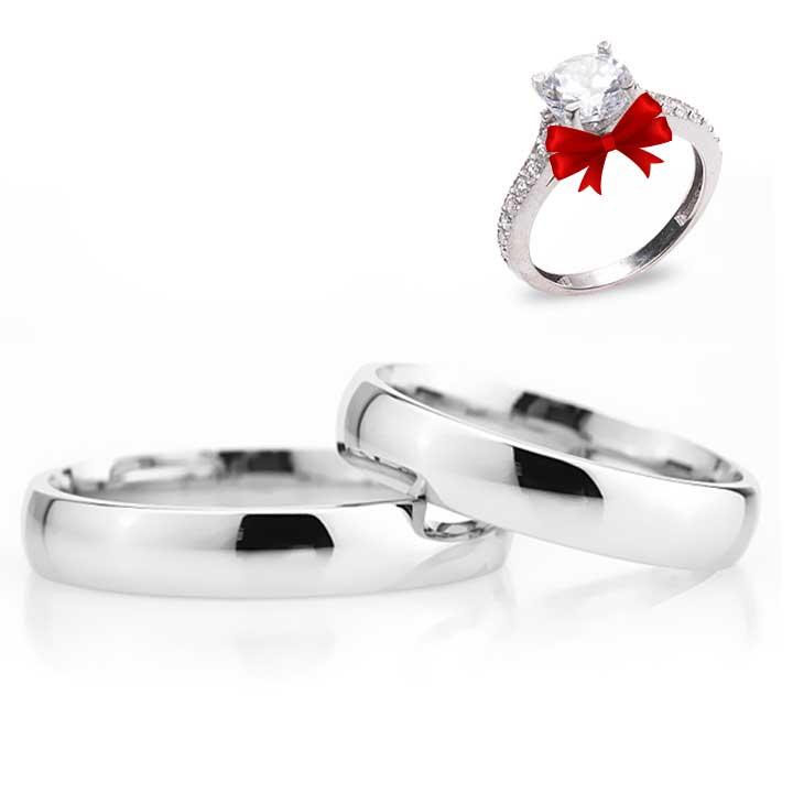 Bombeli 4mm Gümüş Alyans Çifti Nişan ve Söz Yüzüğü