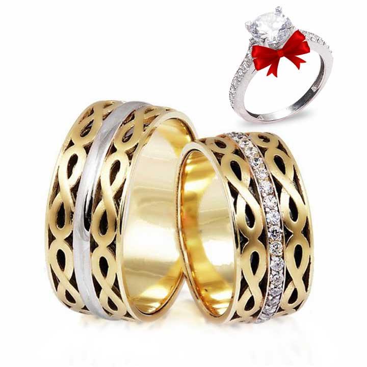 Sonsuzluk Altın Kaplama Gümüş Alyans Çifti + TEK TAŞ YÜZÜK HEDİYE