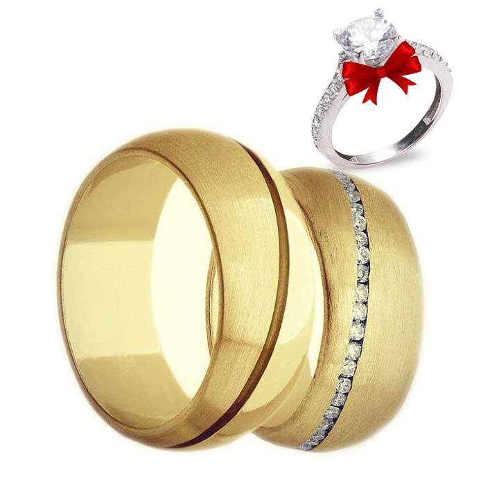 Lines Modeli Altın Kaplama Gümüş Alyans Çifti