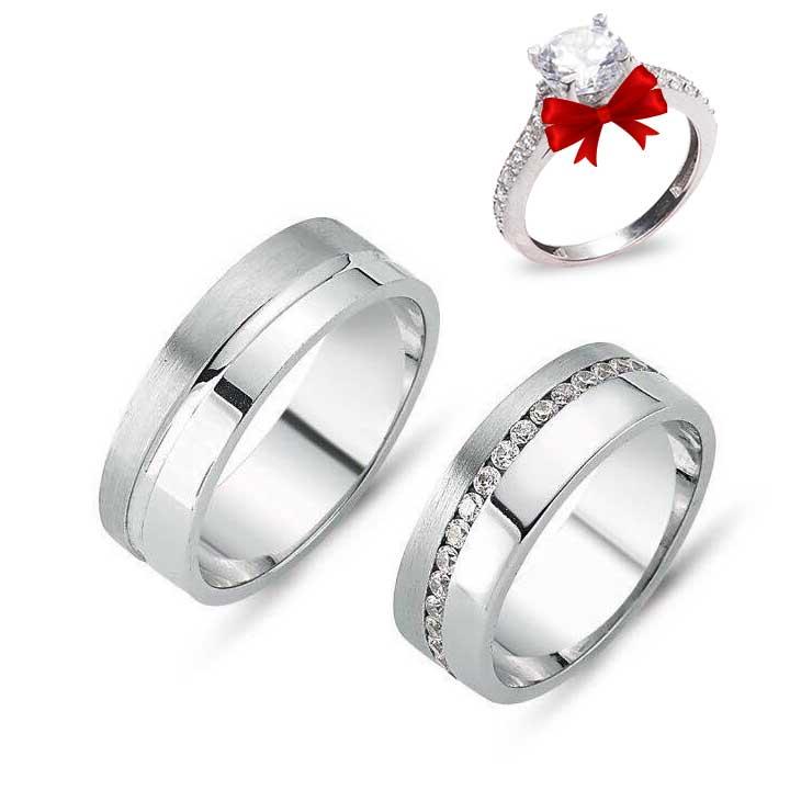 Işıltılı Yol Modeli Gümüş Alyans Çifti + TEK TAŞ YÜZÜK HEDİYE