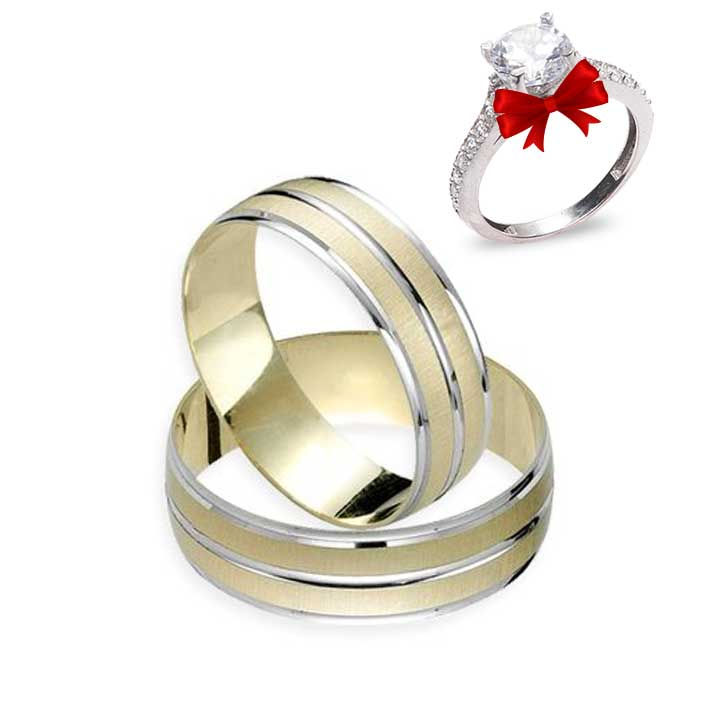 LoveMe Modeli Altın Kaplama Gümüş Alyans Çifti + TEK TAŞ YÜZÜK HEDİYE