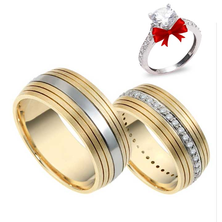Line Modeli Altın Kaplama Gümüş Alyans Çifti + TEK TAŞ YÜZÜK HEDİYE