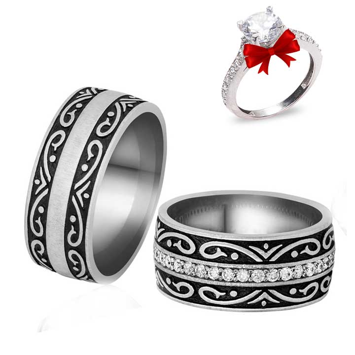 Osmanlı Motifleri Gümüş Alyans Çifti