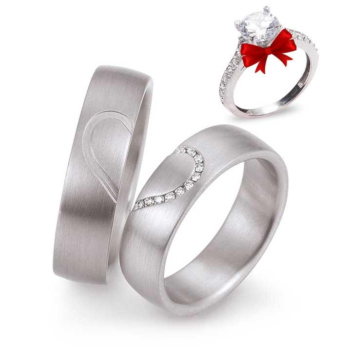 Kalpli Model Gümüş Alyans Çifti
