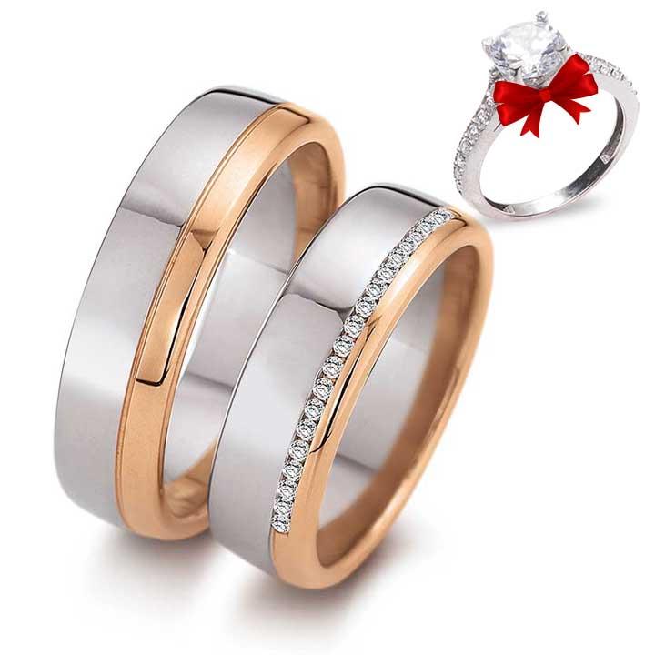 Sıra Taçlı Rose Model Gümüş Alyans Çifti