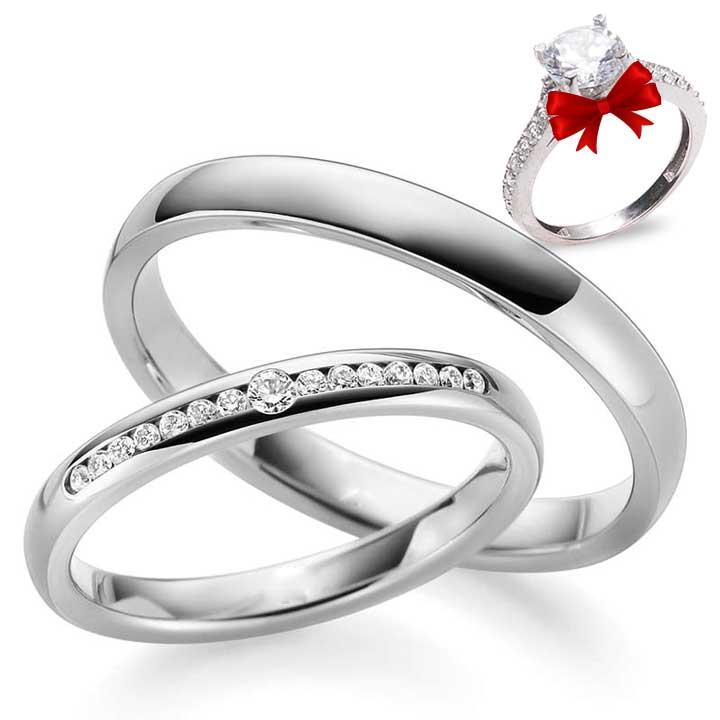 Söz Yüzüğü Gümüş Alyans Çifti + TEK TAŞ YÜZÜK HEDİYE