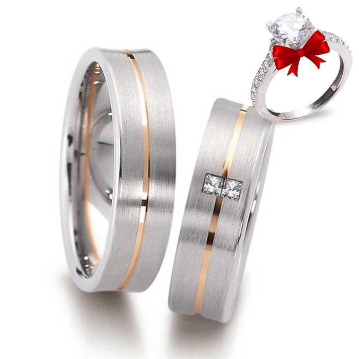 Dikdörtgen Taş Gümüş Alyans Modeli Nişan Yüzüğü
