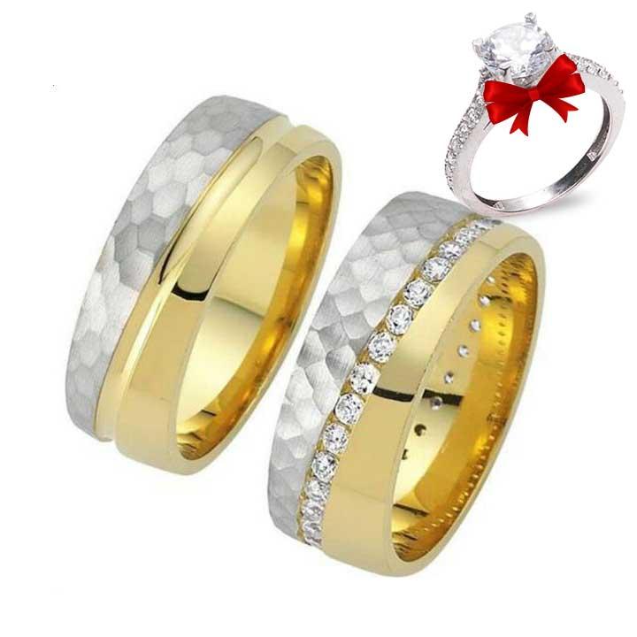 Yüzey Modeli Altın Kaplama Gümüş Alyans Çifti
