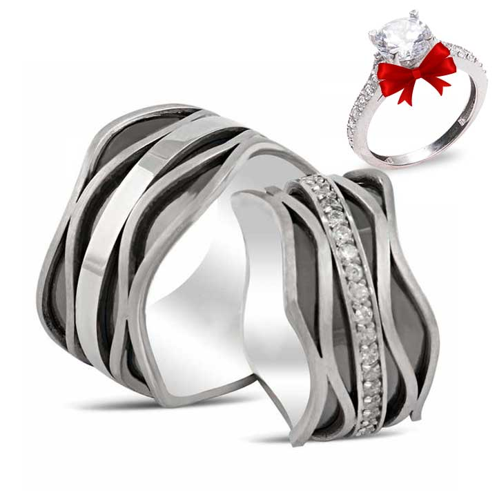 Vave Gümüş Alyans Modeli Taşlı Alyans Çifti