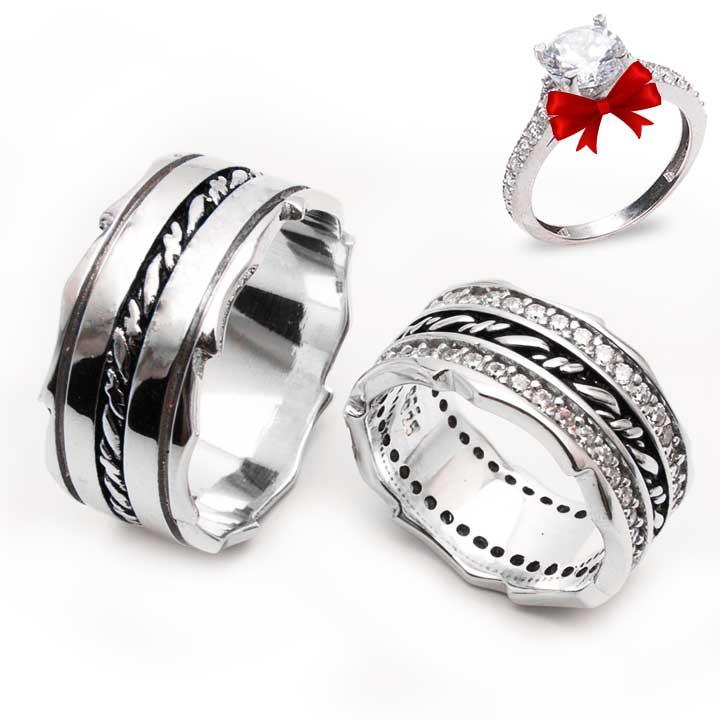 El İşi Zincir Model Gümüş Alyans Çifti