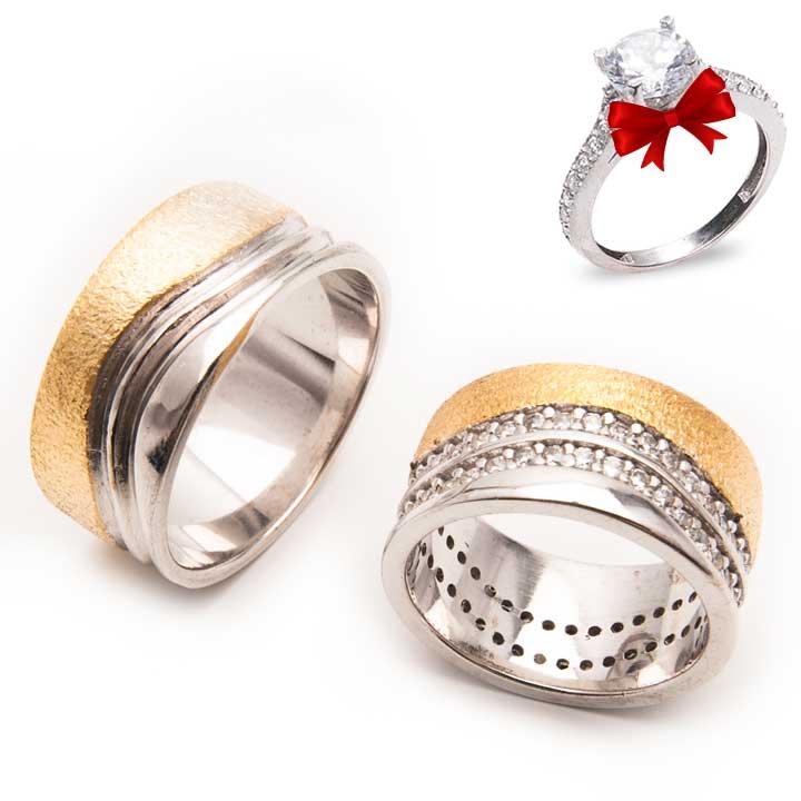 Dalga Simli Altın Kaplama Gümüş Alyans Çifti