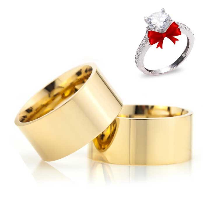 Altın Kaplama Klasik  Model 10 mm Gümüş Alyans Çifti + TEK TAŞ YÜZÜK HEDİYE