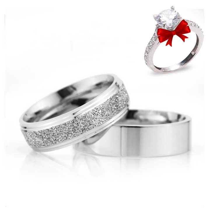 Bombeli Çizgili 6mm Gümüş Alyans Çifti Nişan ve Söz Yüzüğü