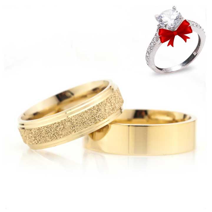 Altın Kaplama Çizgili Klasik 6 mm Gümüş Alyans Çifti
