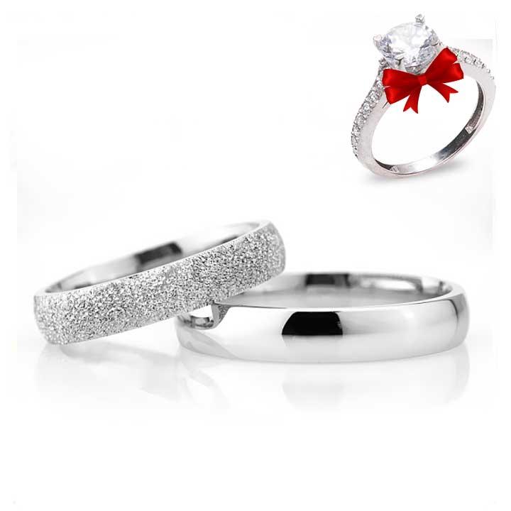 Bombeli 4mm Kumlu Gümüş Alyans Çifti Nişan ve Söz Yüzüğü