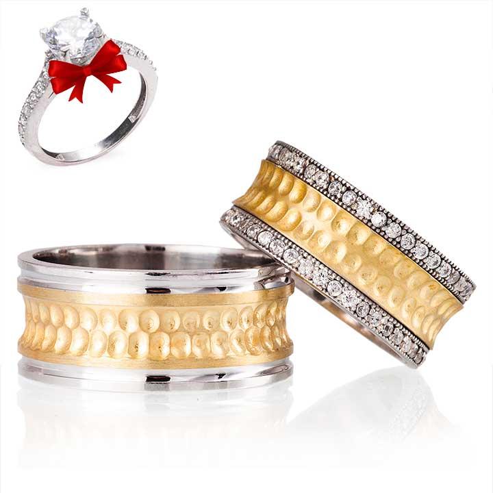 Arya Modeli Gümüş Alyans Çifti + TEK TAŞ YÜZÜK HEDİYE