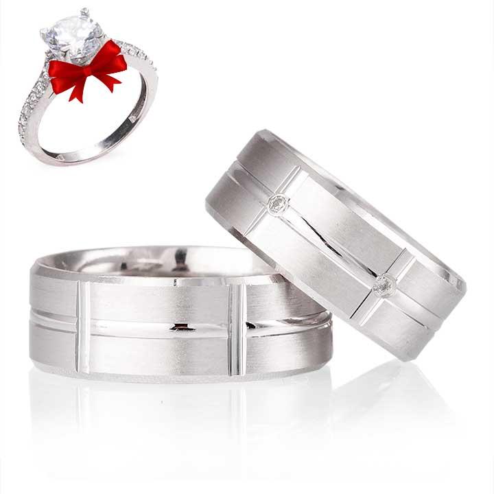 Lale Modeli Gümüş Alyans Çifti + TEK TAŞ YÜZÜK HEDİYE