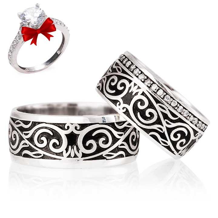 Firuze Modeli Gümüş Alyans Çifti