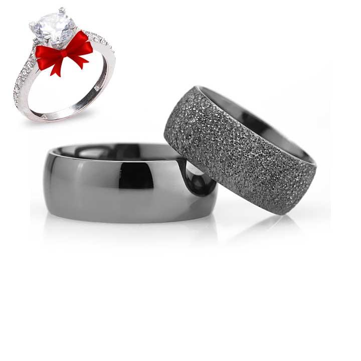 Siyah Bombeli 8mm Gümüş Alyans Çifti Nişan Yüzüğü