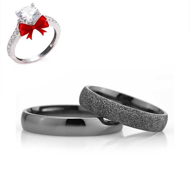 Bombeli 4mm Siyah Gümüş Alyans Çifti Söz ve Nişan Yüzüğü