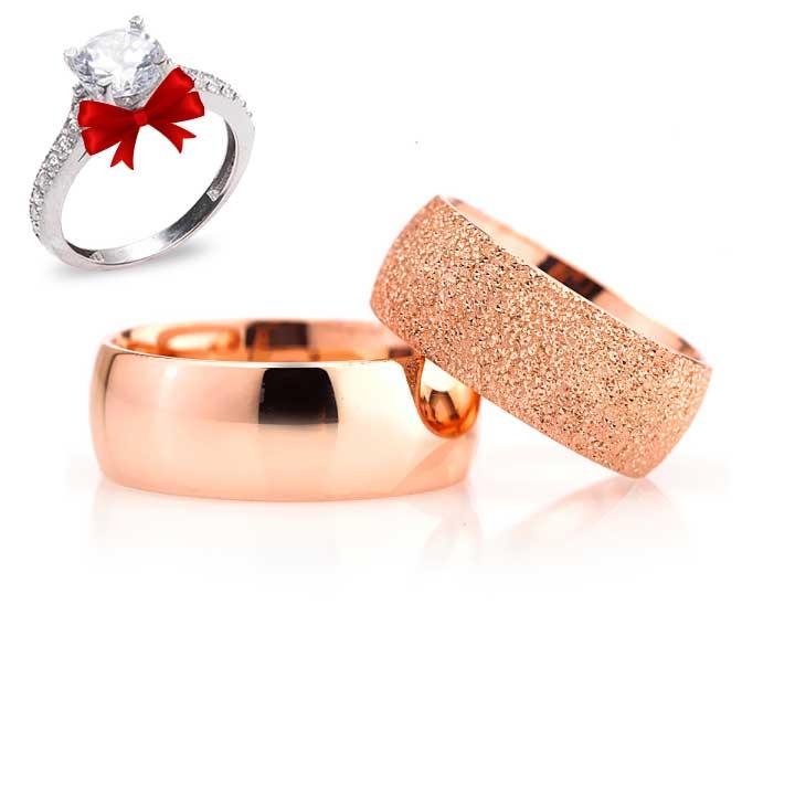 Roz Bombeli Model Gümüş Alyans Çifti + TEK TAŞ YÜZÜK HEDİYE