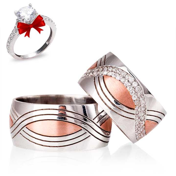 Rumeli Modeli Taşlı Gümüş Alyans Çifti