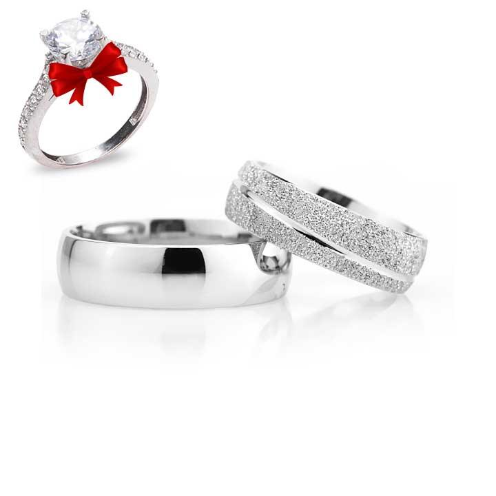 Çizgili Gümüş Alyans Modeli Bombeli Nişan ve Söz Yüzüğü