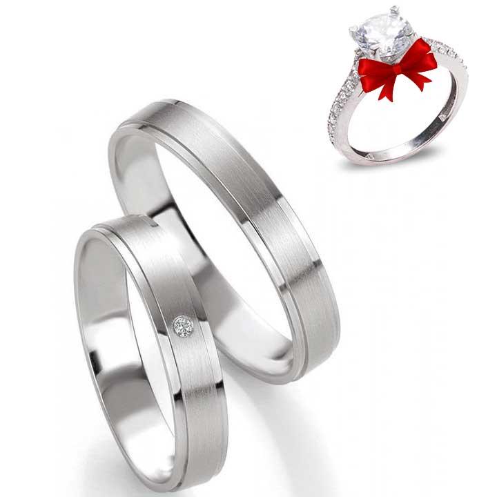 Odesa Taşlı Gümüş Alyans Çifti