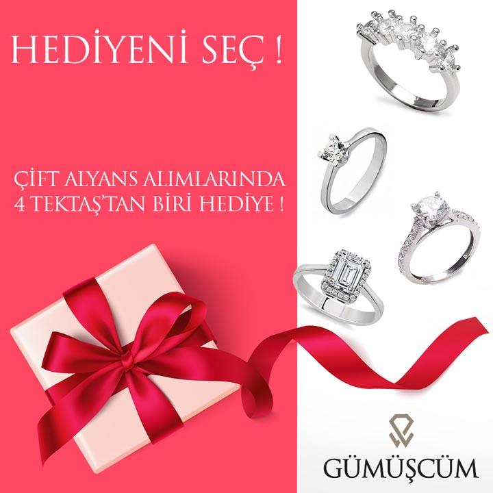 Fulya Modeli Gümüş Alyans Çifti + TEK TAŞ YÜZÜK HEDİYE