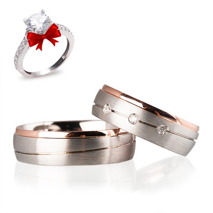 Rose Gümüş Alyans Modeli Taşlı Alyans Çifti