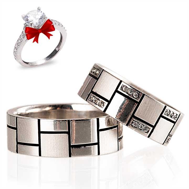 Eftelya Gümüş Alyans Modeli Nişan Yüzüğü