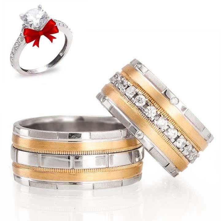 Aqua Altın Kaplama Gümüş Alyans Modeli Alyans Çifti