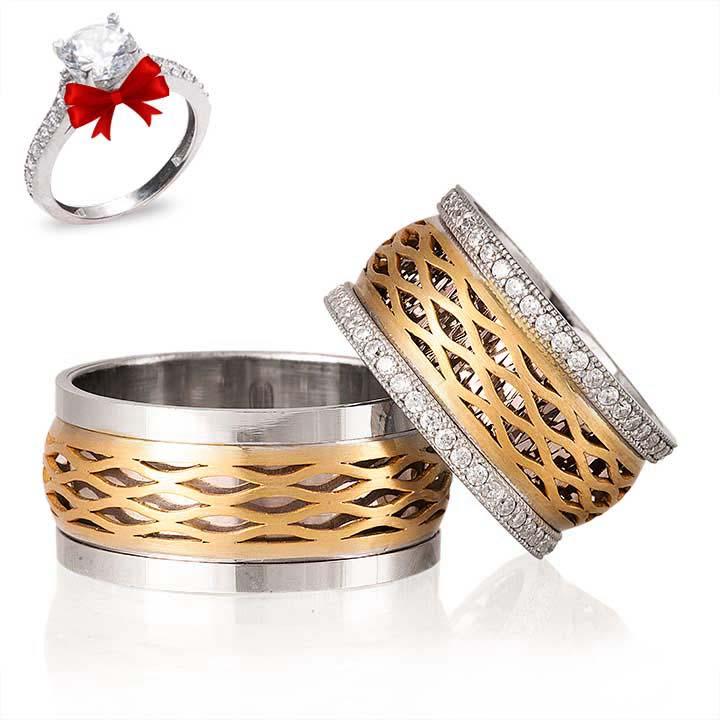 Altın Kaplama Gökkuşağı Gümüş Alyans Modeli Alyans Çİfti
