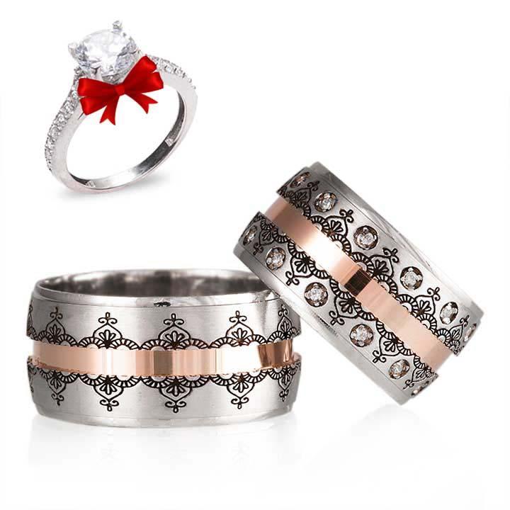 Dantel Gümüş Alyans Modeli Çift Alyans