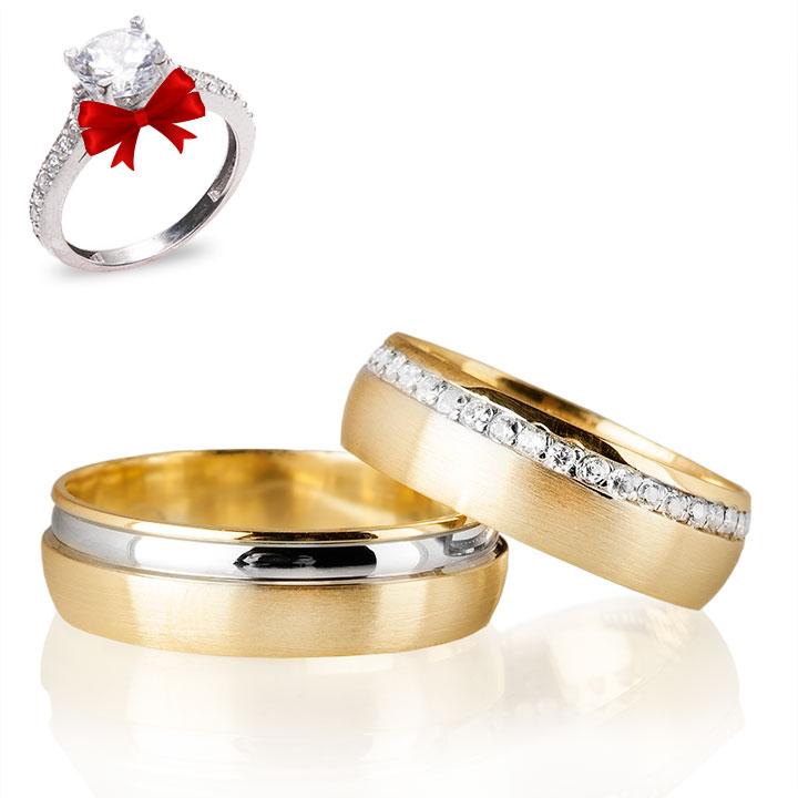 Zarif Modeli Altın Kaplama Gümüş Alyans Çifti