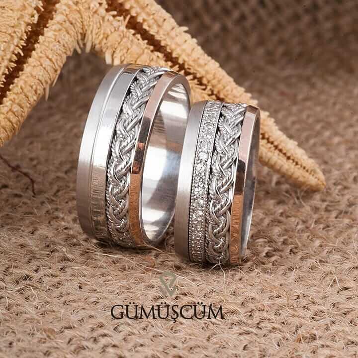 Merkür Gümüş Alyans Modeli Rose Alyans Çifti